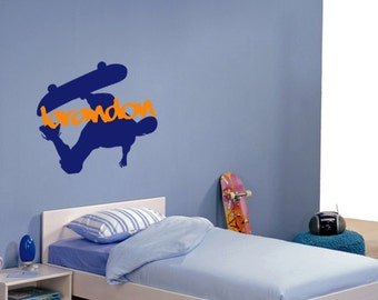 "23"" Skateboarder w Graffiti Name Vinyl Wall Decal / Bedroom Decal / Teen Decal / Boys Decal / Skater / Punk / Emo"