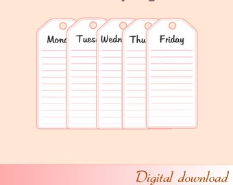 Set of Weekly tags, Flat design, Printables, Digital Download