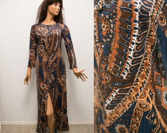 VTg 70s long psychedelic abstract  print dress/ long sleeves fitted navy orange  floral  boho hippie  dress /S