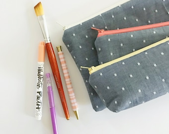 pencil pouch -- swiss chambray
