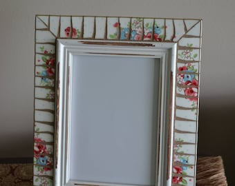 "Shabby Chic Broken China 5"" x 7"" Mosaic Picture Frame"