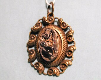 Steampunk Vintage Art Deco Era Watch Movement in Ornate Frame  Pendant with Chain OOAK