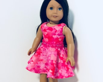 Pink Hearts Dress, AG Doll Clothing, 18 Inch Doll Clothing, Made To Fit American Girl Doll