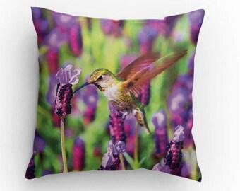 Hummingbird Pillow, Bird lover gift