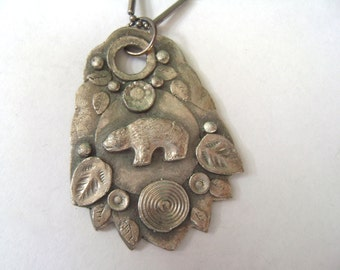 new collaged bear pendant in sterling