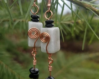 Genuine Amazonite Bead Earrings Accented With Black Glass Beads and Copper Wire