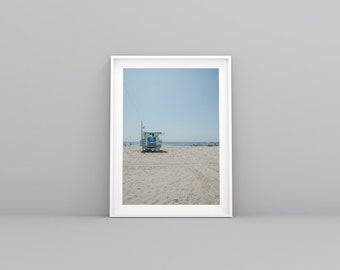 Santa Monica Beach, California - Lifeguard Station, Digital Print, Wall Decor
