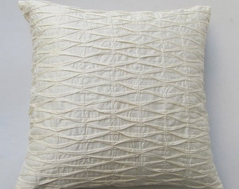 cream pleated pillow 18 inch textured