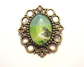 Brooch Frog Glass Metall