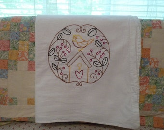 Berry's and Bird House Flour Sack Dish Towel