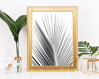 Black and White Palm Leaf, Palm Leaf Print, Tropical Leaf Print, Printable Art, Palm Tree Print, Palm Leaves Print, Palm Tree Art Summer Art