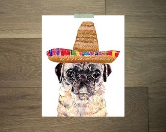 Impression d'art mexicain - 8 x 10 - Carlin art - sombrero - orange et jaune-fiesta - Mexique