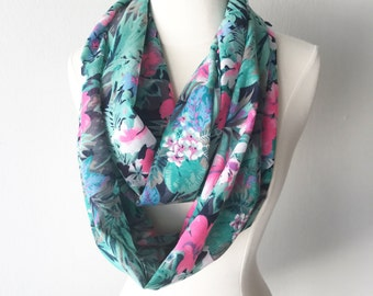 Tropical Print Cotton Infinity Scarf - Gift for her, Birthday, Anniversary