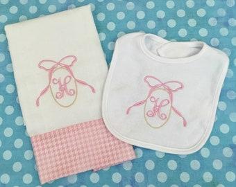 Burp cloth and bib set Embroidered burp cloth and bib