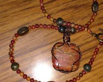 Wire Wrapped Scenic Picasso Jasper Pendant beaded necklace