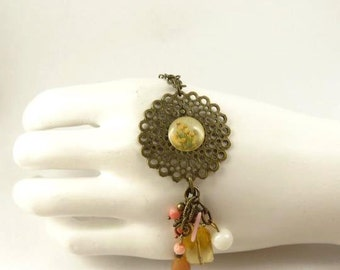 Coral Pendant Antique Brass Toned Necklace Gift for Mom Gift for Her