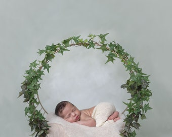 Digital Backdrop, Felted Layers, Newborn Photography, Props, Sea Green handmade painted backdrop with beige felted layers
