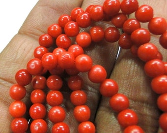 Fabulous! Natural 5 mm coral beads strand