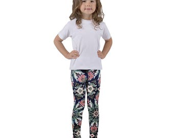 Navy Floral Kid's leggings