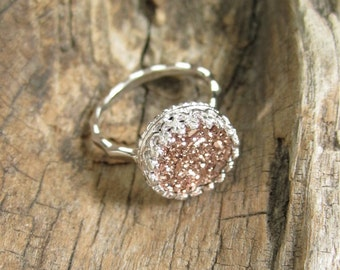 Rose Gold Druzy Ring, Titanium Drusy Quartz Ring, Sterling Silver Crown Setting