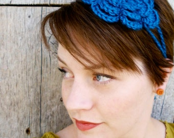 Crochet Irish Rose Headband - Ocean