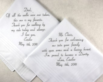 Father of the Bride Gift Father of the Groom Gift Personalized embroidered wedding handkerchiefs Custom wedding Hankerchiefs Napa Embroidery