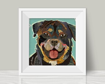 Rottweiler (Rottie) Collage Style Art Print - A Whimsical and Colorful  12x12in Home & Wall Decor Hanging and Unique Gift for Dog Lovers