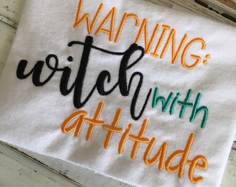 Witch With Attitude Word Art Embroidery Design 5x7 6x10 8x8 8x12