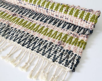 Handwoven rag rug, recycled denim and linen