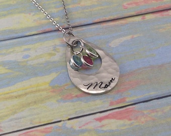 Pewter Mommy or Grandma Necklace - Hand stamped teardrop washer personalized - with birthstone crystals - Sterling silver alternative