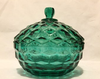 Whitehall Green Glass Candy Bowl with Lid, Cubist Glass Covered Bowl, Trinket Dish, Colony Whitehall