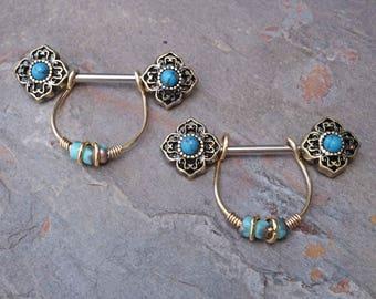 Tribal Flower Antiqued Gold Turquoise Nipple Ring Nipple Piercing