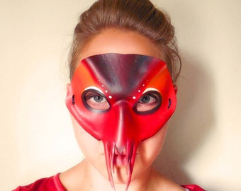 Lobster Leather Mask - Halloween Mask - Lobster Costume - Masquerade Mask - Crawfish Costume - Red Mask- Lobster Mask - Animal Costume