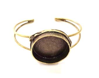 Bracelet Blanks Bangle Blanks Cuff Blanks Adjustable Bracelet Blank Antique Bronze Plated Brass (24mm Blanks) G9018