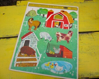 Vintage 1966 Farm Animals Whitman Frame Tray Puzzle Nursery Decor