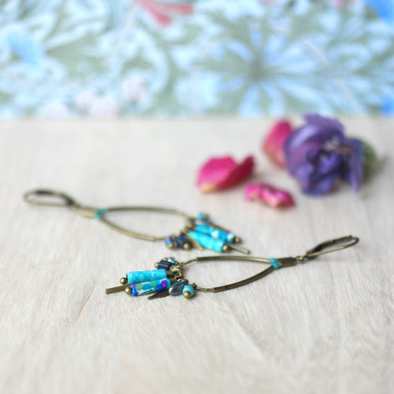 Teal pendant earrings, boho earrings, earrings with tassels, long beads, handmade patterned, on brass