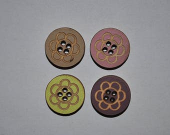 set of 4 buttons wood flower child/baby/sewing/scrapbooking/deco 62