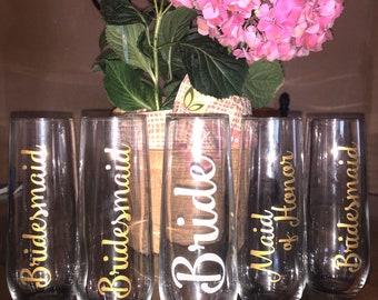 2+ Custom Bridal Party Champagne Glasses-Girlfriend Champagne Glasses-Maid of Honor Champagne Glasses-Wedding Glasses-Bridesmaid Glasses