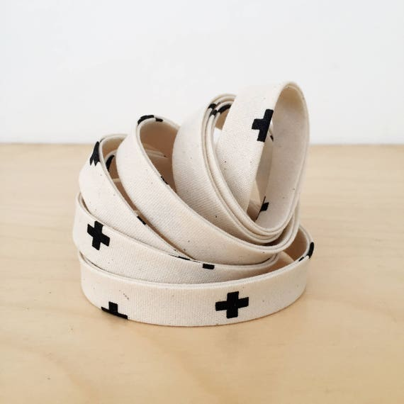 "Bias Tape in Cotton + Steel Basics XOXO 1/2"" double-fold bias tape- Chocolate Chips Black crosses- 3 yard roll"
