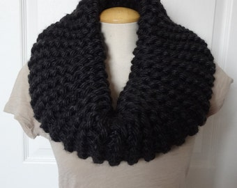 Knit Thick Cowl - Knit Cowl - Dark Grey - Winter Scarf - Extra Chunky & Bulky - Ready to Ship