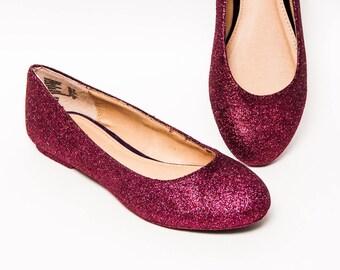 Glitter - Burgundy Red Ballet Flat Slipper Dress Shoes