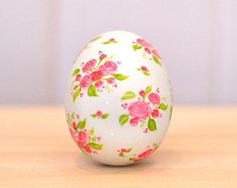 Easter Egg decoration Easter basket Ceramic Easter egg Cottage rose painting floral egg ceramic egg hand painted egg decoration