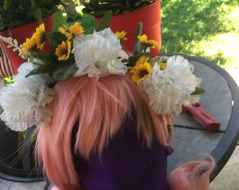 Hydrangea and Daisy or Coneflower Flower Crown