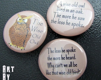 Pin Back Button Set Wise Old Owl Poem