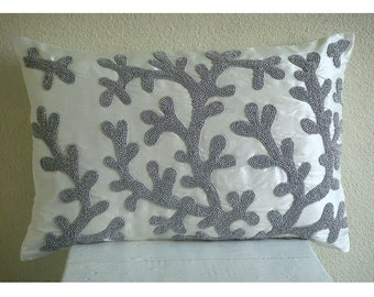 Decorative Oblong / Lumbar Rectangle Throw Pillow Covers Accent Pillow Couch Sofa 12x16 White Silk Pillows Bead Embroidered - Silver Corals