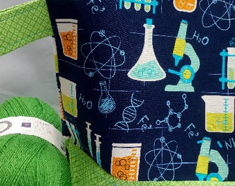 Weird Science, Biology, Chemistry, Physics  WIP Wedge Project Bag, Choice of Zipper or Drawstring,  Knit, Crochet, Tote Bag