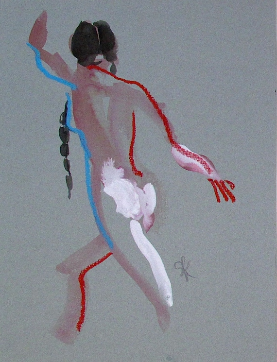Nude painting of One minute pose 93.4 Original painting by Gretchen Kelly
