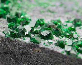 Uvarovite from Russia (green garnet)  3.04 x 1.68 x 0.44''. 2.75 oz
