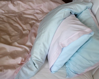 Twin / Twin XL Duvet Cover Full Set Blue and Pink Color Satin Cotton Quilt Cover with pillowcase