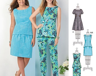 Simplicity Sewing Pattern 1466 Misses' and Plus Dress, Tunic or Top, Skirt & Pants